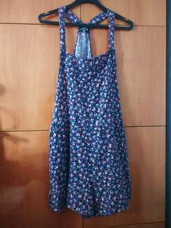 (One button missing) Cotton on floral overalls size L