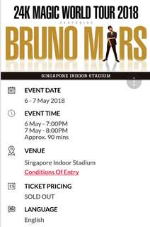 Bruno Mars Concert Ticket 6 May