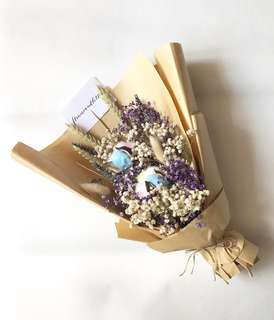 Dried Flower Bouquet rainbow cotton, lavender, dried purple and white baby's breath