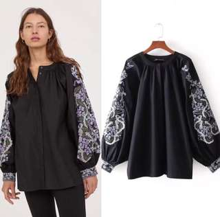 Loose fitting Loose casual large size embroidery long-sleeved blouse