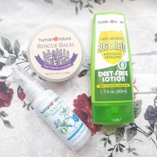 Rescuebalm and Bugshield with sanitizer