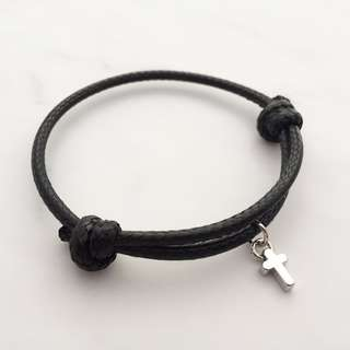 BL046C - Black Bracelet Cross Charm Personalised Minimalist Customised Adjustable Bracelet - Made To Order
