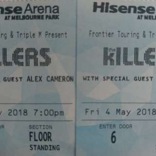 The KILLERS Melbourne 4th May GA - STANDING