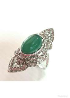 Oxidized Oval Jade Ring.