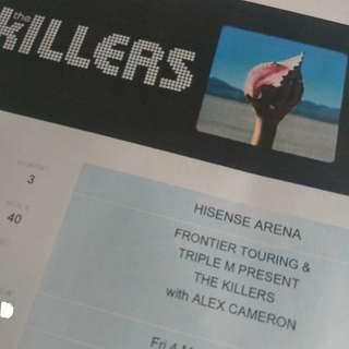 The KILLERS Melbourne = MEZ, 40, Row T Single Ticket
