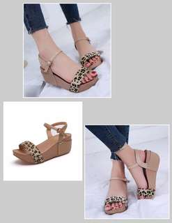 Leopard Wedge Sandals