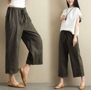 (M~XL) Spring and summer linen casual pants women wide leg pants loose solid color nine pants cotton linen pants