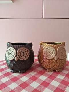 手工陶瓷 貓頭鷹 小物