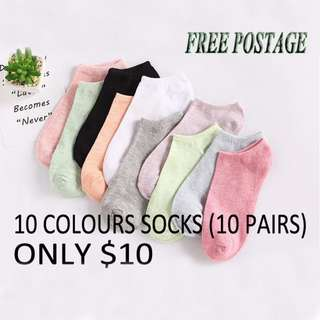 WOMEN SOCKS (10 COLOURS 10 PAIRS) ONLY $10 (free postage)