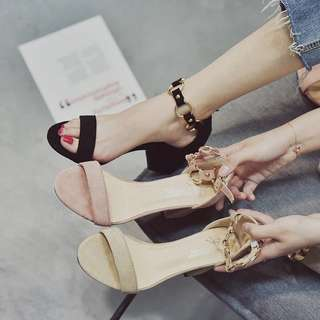 Chain Ankle Detail Chunky Heels