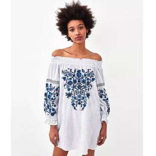 European and American style flower heavy embroidery collar strapless loose dress