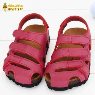 《鳳梨屋童鞋》涼夏舒適百搭款 前包護趾涼鞋 童鞋【U8016-2】桃色 台灣製造