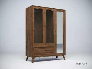 Lemari pakaian 3 pintu cermin WD 397