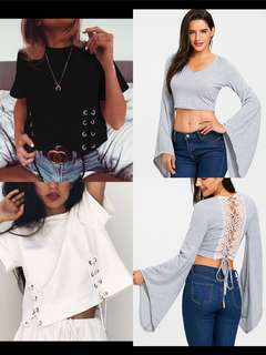 Po | sleeved Lace Up crop TOPs