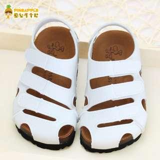 《鳳梨屋童鞋》涼夏舒適百搭款 前包護趾涼鞋 童鞋【U8016-5】白色 台灣製造 含運價