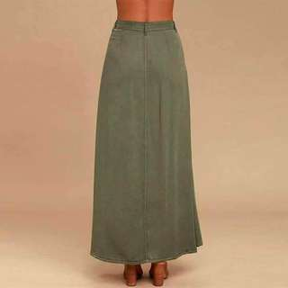 💰340 💋Maxi Skirt 💫Openable Buttons 💫Free size fits up to Semi L 💫1color 💫Thick Linen *ofy