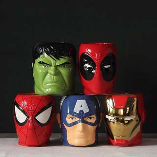 PO: Marvel avengers superheroes mug cup ironman hulk captain america spiderman deadpool