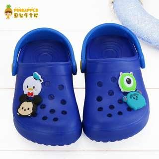 《鳳梨屋童鞋》Tsum Tsum 迪士尼 米奇 大眼仔 毛怪 唐老鴨軟Q布希鞋 園丁鞋【i418314-3】藍色 含運價