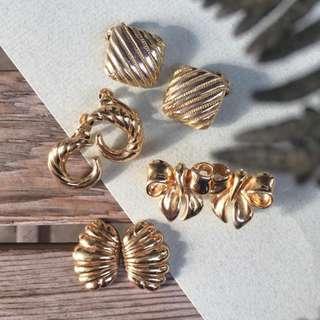 Skin&Moss復古vintage金色閃耀心動系列古耳夾骨董耳環巴黎paris Vandome貝殼耳環