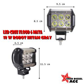 LED CREE FLOOD 6 MATA 18 W ROBOT HITAM GREY