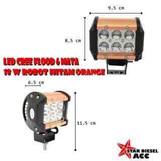 LED CREE FLOOD 6 MATA 18 W ROBOT HITAM ORANGE