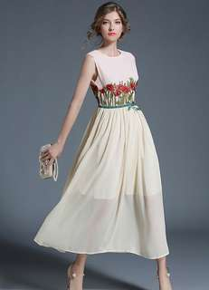 Maxi: Charming Embroidered High Waist Chiffon Maxi Dress (S / M / L / XL) - OA/MKD070925