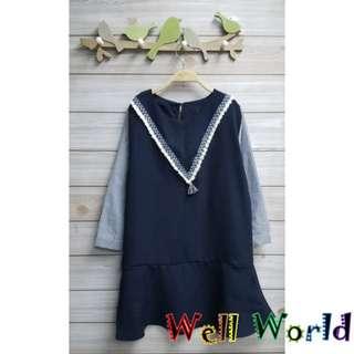 #2185 民族流鬚拼接傘形下擺中袖T恤上衣連身裙(韓國製造)