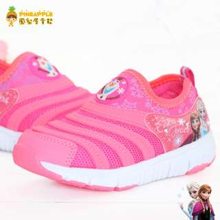 《鳳梨屋童鞋》冰雪奇緣 艾莎 安娜 休閒電燈鞋 毛毛蟲鞋【F84413-1】粉色 含運價