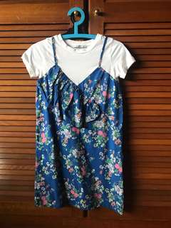 Pull & Bear Blue Origami T-Shirt Dress