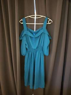 Off shoulder cyan dress