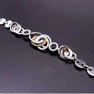 【D-W 香港鑽石世界】全新18K白金64份 設計靚款 鑽石手鍊--CB0094-157