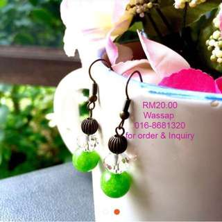 Green Natural Beads Earing