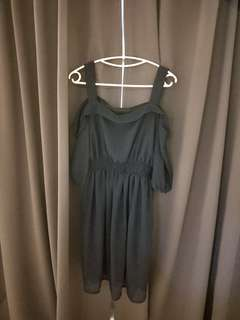 Off shoulder dark navy blue dress