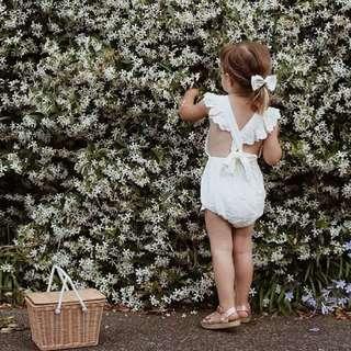✔️STOCK - WHITE SEXY X BACK RUFFLED ONESIE NEWBORN BABY TODDLER GIRL CASUAL ROMPER KIDS CHILDREN CLOTHING