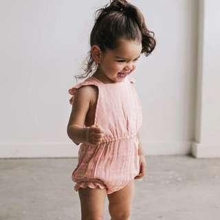 ✔️STOCK - PINK SEXY X BACK RUFFLED ONESIE NEWBORN BABY TODDLER GIRL CASUAL ROMPER KIDS CHILDREN CLOTHING