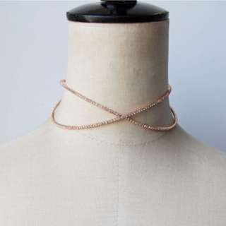 Ladies Korean Elegant Diamond Rose Gold Hierarchy Choker