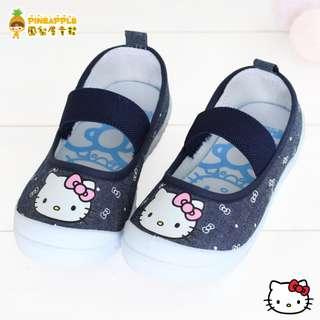 《鳳梨屋童鞋》Hello Kitty 凱蒂貓 經典甜美款柔軟室內鞋 娃娃鞋 帆布鞋【K18621-3】藍色 台灣製造 含運價
