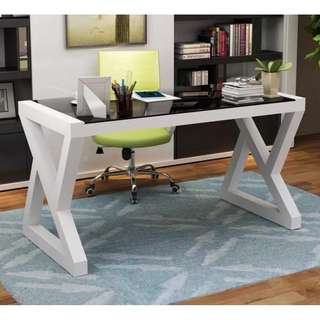 Office Desk Black Tempered Glass White Frame OD-07C