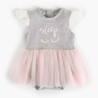✔️STOCK - GREY SLEEP PINK TULLE FROCK ONESIE NEWBORN BABY TODDLER GIRL CASUAL DRESS ROMPER KIDS CHILDREN CLOTHING