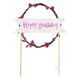 LED light Flower Garland Birthday Party Cake topper PINK