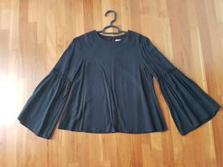 The Editor's Market Black Belled Sleeve Top