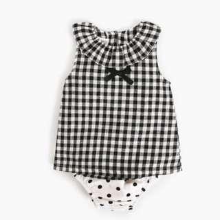 ✔️STOCK - 2pc GINGHAM TOP & POLKA WHITE BLOOMER SHORTS SET NEWBORN BABY TODDLER GIRL KIDS CHILDREN CLOTHING