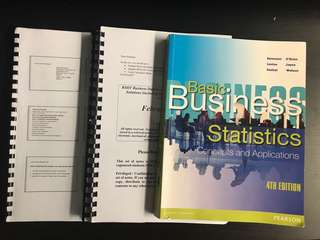 SIM RMIT ECON 1035 Business Statistics Textbook + Lecture notes + MCQ practice questions