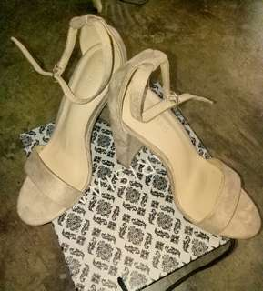 Block Heels in Nude