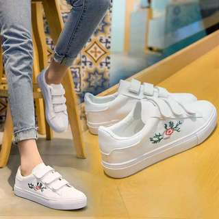Velcro Straps Floral Embroidery Sneakers