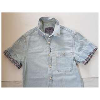 Style, Fashion, Retro, Rocker, Rare Men TOPMAN Designer Denim Shirt, UK, Size XS, Classic Fit, Short Sleeved