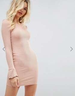 ASOS Mink Pink Mini Dress with Frill Cuffs