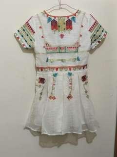 🚚 民族風刺繡百摺洋裝