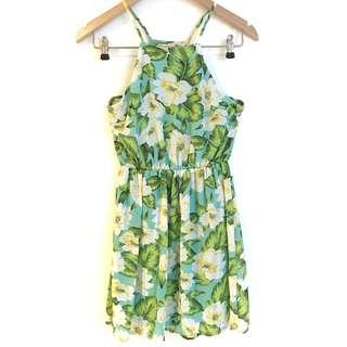 Green Floral Print Chiffon Knee Length Dress 💚