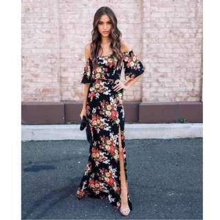 Off Shoulder Floral Casual Dress